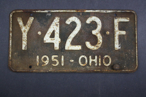 1951 Vintage Original Ohio License Plate Y-423-F