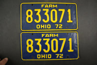 1972 Vintage Original Ohio License Plate 833071 FARM PAIR
