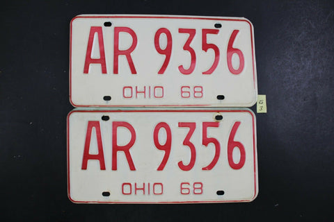 Vintage 1968 OHIO License Plate AR-9356 PAIR (G3
