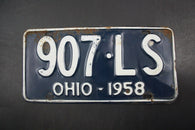 1958 Original Vintage Ohio License Plate 907-LS