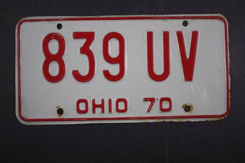 1970 Vintage Original Ohio License Plate 839-UV