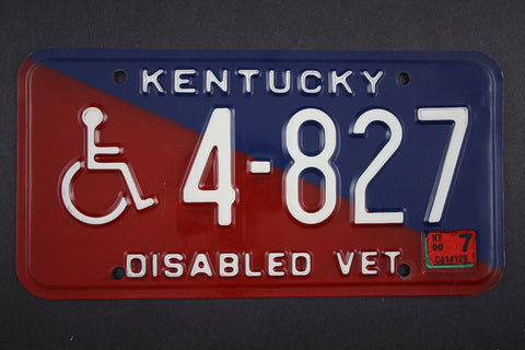 License Plate, Kentucky, Disabled Veteran, Wheelchair 4-827