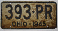 1945 Vintage Original OHIO License Plate Tag 393-PR