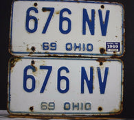 1969 Vintage Original OHIO License Plate 676-NV PAIR