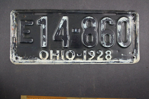 1928 Vintage Original Ohio License Plate E-14-860
