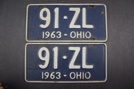 1963 Vintage Original Ohio License Plate 91-ZL PAIR