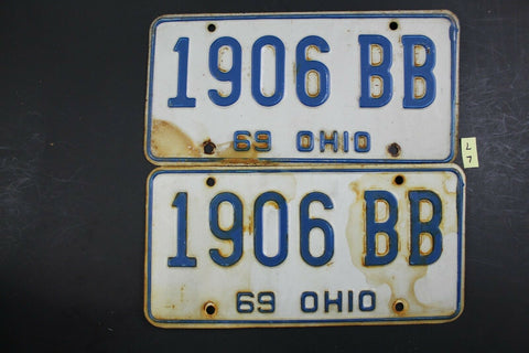 Vintage 1969 OHIO License Plate 1906-BB PAIR L7