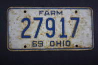 1969 Vintage Original Ohio License Plate 27917 FARM