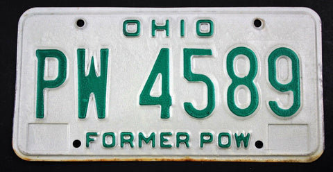 Vintage 1985 Original OHIO Former POW License Plate PW 4589