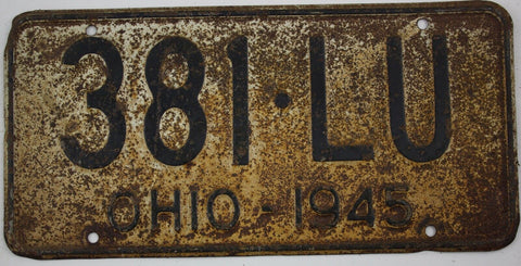 1945 Vintage Original OHIO License Plate Tag 381-LU