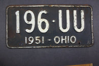 1951 Vintage Original Ohio License Plate 196-UU