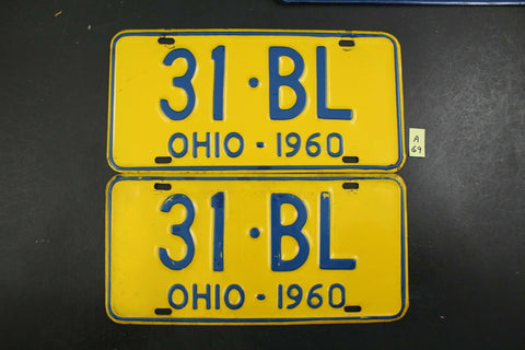 Vintage 1960 OHIO License Plate 31-BL PAIR (A69