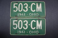 1961 Vintage Original Ohio License Plate 503-CM PAIR