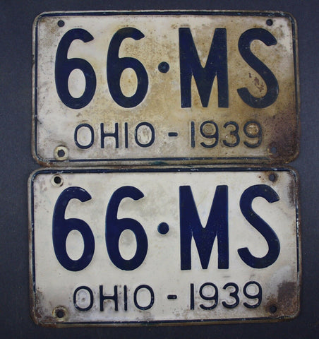 1939 Vintage Original Ohio License Plate 66-MS PAIR