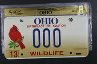 1998 OHIO License Plate 000 Embossed Wildlife (N-75
