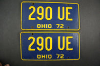 1972 Vintage Original Ohio License Plate 290-UE PAIR