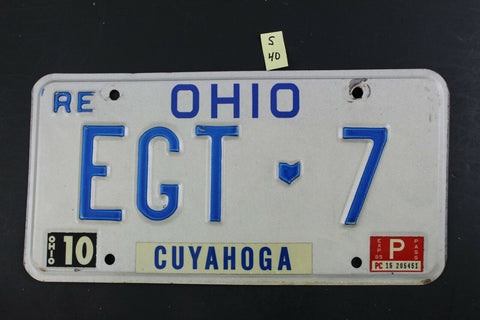 1984 Original Vintage Ohio License Plate EGT 7 CUYAHOGA COUNTY S40