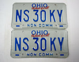 Vintage 1992 Original OHIO Non Commercial Truck License Plate NS 30KY (PAIR)