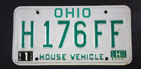 Vintage 1985 Base Original OHIO House Vehicle License Plate H176FF