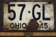 1945 Vintage Original OHIO License Plate Tag  57-GL