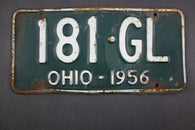 1956 Vintage Original Ohio License Plate  181-GL