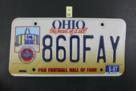 1996 OHIO Pro Football Hall of Fame License Plate 860-FAY 1997 Sticker O-38
