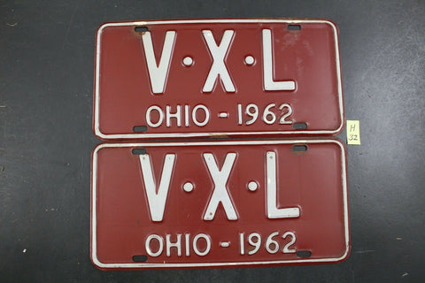 Vintage 1962 OHIO License Plate V-X-L PAIR (H32