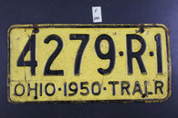 Vintage 1950 Ohio - TRAILER - License Plate - 4279-R-1 (X-100