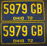 1972 Vintage Original Ohio License Plate 5979-GB PAIR