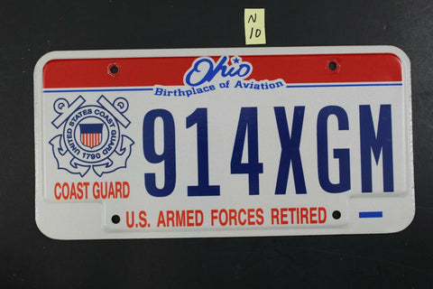 2004 OHIO License Plate 914XGM United States Coast Guard Retired (N-10
