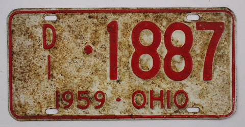 1959 Vintage Original Ohio License Plate Tag 1887 Master Dealer