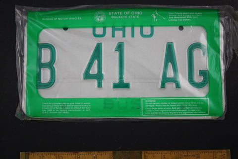 1985 Vintage Original Pair of Ohio Bus License Plates B 41 AG