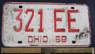 1968 Vintage Original OHIO License Plate  321-EE