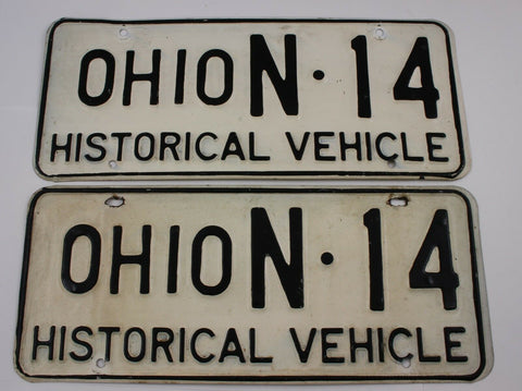 Original Historical Pair of Ohio License Plates N14