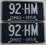 1958 Vintage Original Ohio License Plate 92-HM PAIR