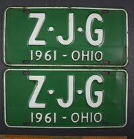 1961 Vintage Original Ohio License Plate Z-J-G PAIR