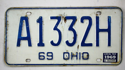 Vintage 1969 Original OHIO License Plate A1332H