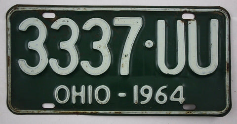 1964 Vintage Original OHIO License Plate Tag 3337-UU
