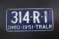 1951 Vintage Original OHIO License Plate 314-R-1 TRAILER