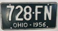 1956 Vintage Original OHIO License Plate 728-FN