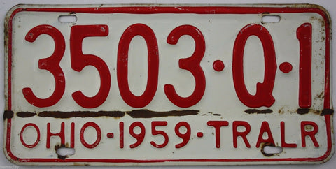 1959 Vintage Original OHIO License Plate 3503-Q-1 TRAILER