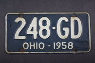 1958 Vintage Original Ohio License Plate 248-GD