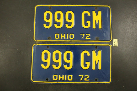 Vintage 1972 OHIO License Plate 999-GM PAIR (F13