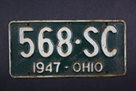 1947 Vintage Original Ohio License Plate 568-SC