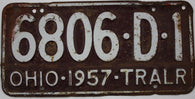 1957 Vintage Original OHIO License Plate 6806-D-1 TRAILER