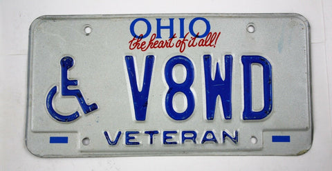 Vintage 1992 Original OHIO Disabled Veteran License Plate V8WD