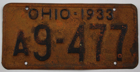 1933 Vintage Original Ohio License Plates A9-477