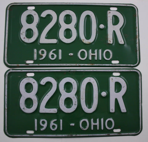 1961 Vintage Original OHIO License Plate PAIR 8280-R