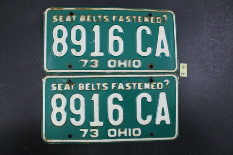 Vintage 1973 OHIO License Plate 8916-CA PAIR (Q-40