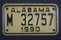 1990 Vintage Original Alabama Motorcycle License Plate M 32757